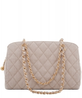 Chanel Schoudertas in Beige Canvas