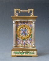 A characteristic French carriage clock, cloisonné enamel decorations, silver and gold, ca 1890.