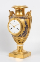 A lovely French Empire gilt 'Sevres' porcelain urn mantel clock, Angevin circa 1800