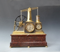 A Guilmet industrial clock, a flywheel pump timepiece with barometer and thermometer, 1890.