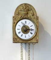 Sorg-Uhr, an  attractive  miniature wall clock, alarm, striking hours on a bell,  South Germany, 1850.