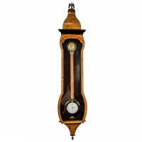 A rare Austrian wall timepiece with oscillating dial and automata eye sunburst mask, circa 1830
