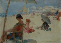 Figures on the beach of Il Lido di Venezia