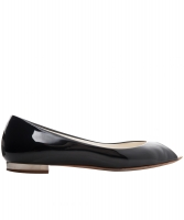 Chanel Black Patent Leather Peep Toe Flats - Chanel