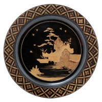 Japanese black lacquer plate with gilt landscape design, late 17th/early 18th c