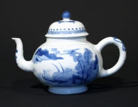 A blue-and-white teapot