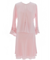 Chanel Skirt Suit in Pale Pink Tiered Flared  Silk  - Chanel
