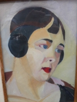 Portrait of a lady with red lips