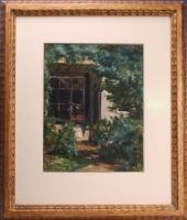 Gezicht op achterzijde huis met tuin. - Willem Elisa Roelofs