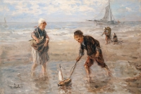 Children playing on the beach - Josef Israels