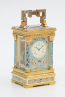A miniature French cloisonne anglaise carriage timepiece, circa 1880