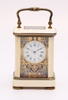 A miniature French champlevé and ivory carriage timepiece, circa 1880