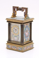 A miniature French gilt brass cloisonné carriage timepiece, circa 1870
