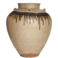 Rare Chinese stoneware storage jar with celadon glaze and iron brown glaze band on the shoulder.