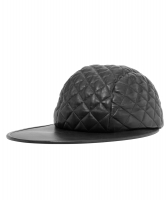 Chanel Black Quilted Leather Baseball Cap