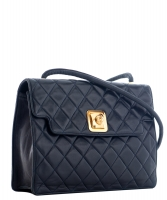 Chanel Vintage Blue Quilted Leather Shoulder Bag