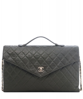 Chanel Vintage Green Quilted Leather Briefcase Shoulder Bag