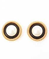 Chanel Round Clip On Earrings with Faux Pearl