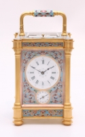 A lovely French gilt brass cloisonné enamel carriage clock, circa 1870