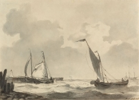 P45 Fishing boats near the shore - Signed l.r. J.C. Schotel - Pen in brown, ink in black/brown, and grey wash on paper on cardboard