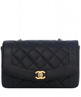 Chanel Flap Bag in Black Matelasse Caviar Leather