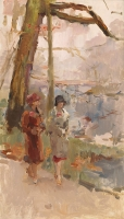 Promenade (Two walking ladies at the The Hague park) - Isaac Lazarus Israels