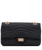 Chanel Black Satin Croc Embossed 2.55 Reissue Flap Bag