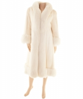 White Mink Full Length Coat with Fox Trim - Designer Unknown
