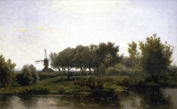 Summer landschap with mill