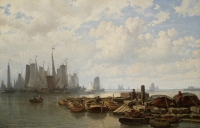 Fishing vessels on the IJ near Amsterdam - J.C. (Johan) Greive jr.