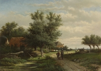 Man, woman and child on a path near farmhouses - Georgius Heerebaart