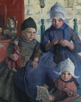 Three children in Volendam costumes