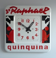 A French art deco enameled clock,  advertising