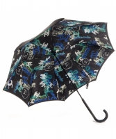 Chanel  Black Multi CC Logo Graffiti Print Umbrella