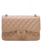 Chanel Iconische 2.55 Jumbo Schoudertas in Beige Gematelasseerd Kaviaar Leder