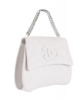 Chanel White Quilted Leather Handbag