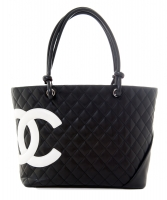 Chanel Black Leather Ligne Cambon Tote Bag