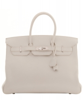 Hermès White Clemence Leather Birkin 35