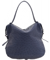 Bottega Veneta Blue Ostrich Noce Shoulder Bag