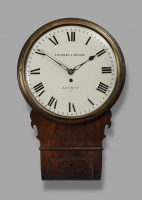 A good early 19th century mahogany drop dial wall timepiece, Handley & Moore, London, c. 1810