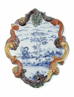 Dutch Delft plaque with blue and white decoration