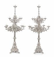 An impressive pair of Dutch silver pricket candelabra
