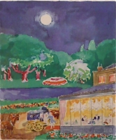 Moonlight parklandscape with restaurant
