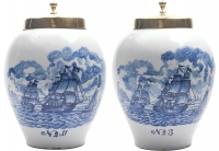 A Pair of Delft Blue Tobaccojars