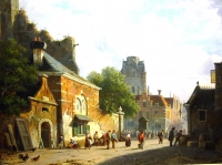A sunny Dutch town (Wijk bij Duurstede)  with figures (left side 3 x poultry)