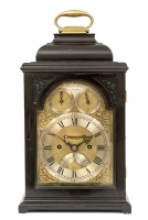 A small English ebonised table clock with quarter repeat, James Wittit London, circa 1740