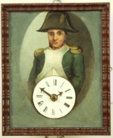 A very rare German 'Sorg' blinking eyes Napoleon wall clock, circa 1830