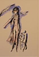 La Garçonne, tekst Victor Margueritte. Staande elegante vrouw met hond