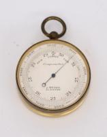A Scottish gilt brass pocket barometer, J. Brown Glasgow, circa 1890