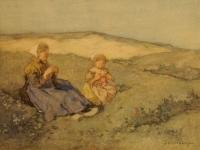 Mother and child in dune landscape